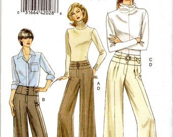 Very Easy Women's Pants & Belt Pattern - Size 6, 8, 10, 12 - Very Easy Vogue V8457 uncut