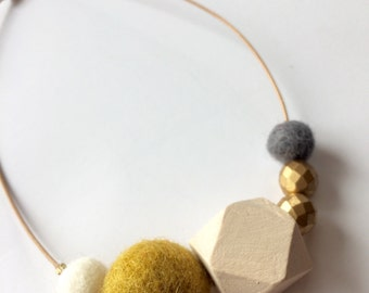 "Special Edition 14"" Kid's Necklace, wool felt balls, essential oil diffuser"