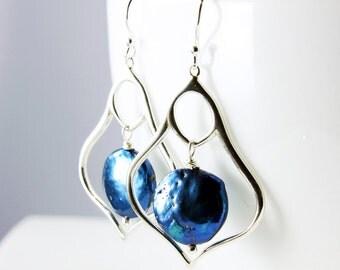 Navy Blue Pearl Earrings, Sterling Silver Earrings, statement earrings with dark blue pearls,dangle earrings,fine earrings,gift for her,3062