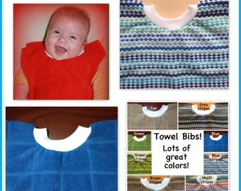 1 Towel Bib - BULK DISCOUNT - girl boy - kitchen towel bib - dish towel baby bib dish towel bib, wholesale discount blue bib stripe bib