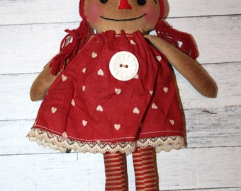 Valentine's Day Ornament Sized Annie - Primitive Raggedy Ann Dolls (HAFAIR)