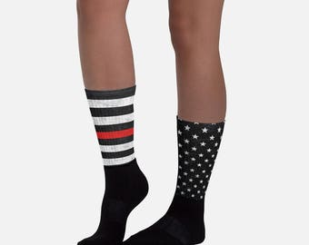 Thin Red Line Socks - 2 Styles - American Flag