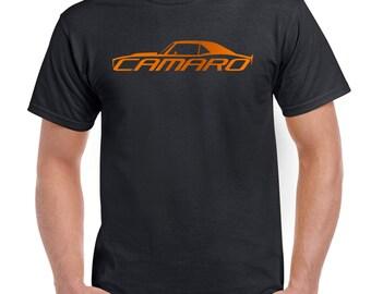 Orange Camaro Classic Muscle Car 1967- 68 - 69 Men's Black T-Shirt S - 5XL
