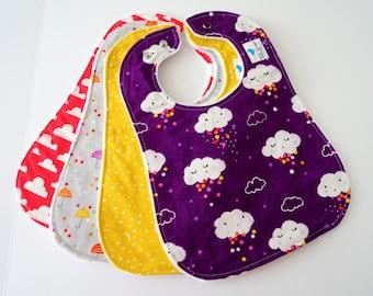 Oversize Baby or Toddler Bibs for Girl, Set of 4 - Clouds, Rain, Stars, Moons, Sky, Umbrellas, Minky Back