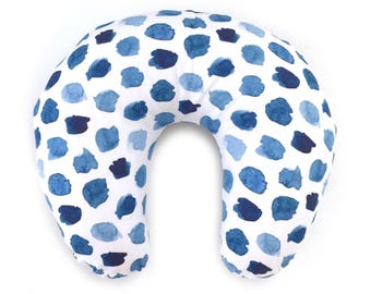 Nursing Pillow Cover Watercolor Navy Dots. Nursing Pillow. Nursing Pillow Cover. Blue Nursing Pillow Cover.