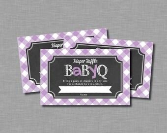 Purple Diaper Raffle Tickets girl baby q Tatum BB10 Printable - Instant Download