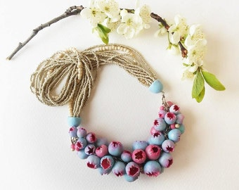 Necklace,Bib Necklace, Beadwork Necklace, Big Necklace, Statement necklace, Pink Blue flower buds, Boho jewelry, Graduation, gift for her,