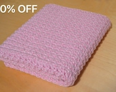 Sale, Baby Blanket, Crochet Baby Afghan, Pink Baby Blanket with Bling