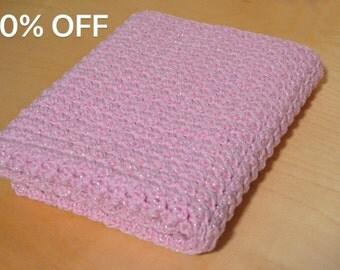 Sale, Baby Blanket, Crochet Baby Afghan, Pink Baby Blanket with Bling