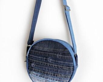 Canteen Crossbody Bag Upcycled Denim Handmade Unique