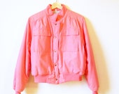 Bubblegum Pink Vintage Bomber Jacket / Pink Puffer Coat / 80s Vintage Ski Jacket