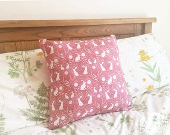 Floral Hares Decorative Throw Cushion, Cushion Cover, Throw Cushion, Pillow, Decorative Cushion, Rabbit Lover Gift, Floral Cushion Cover
