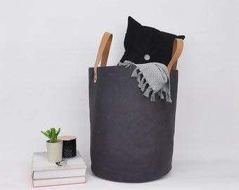 Dark Gray Laundry Hamper, Fabric Basket, Laundry Basket, Storage Basket, Toy Storage, Storage Bin, Toy Basket, Nursery Storage