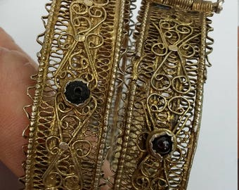 Sale Pair Yemeni Filigree Gold Washed Bracelets,Black Coral,Bedouin,Ethnic Bracelets