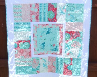 Beautiful Quilted baby girl blanket handmade, Nursery Ocean themed baby quilt Coral Queen the Sea fabric, swimming mermaids and octopus