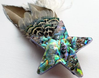 Shooting Star Hair Ornament, star and feather fascinator, star hair adornment