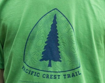 Non-personalized version. Pacific Crest Trail Logo Shirt. Super soft style hiking t-shirt. This version is just the PCT logo. Vintage colors
