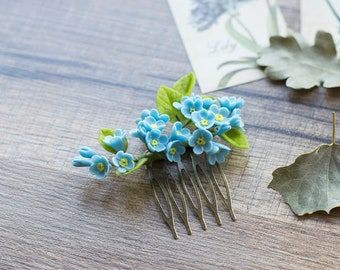Forget-me-not flower hair comb - blue bridal hairpiece - wedding hair comb - summer wedding - forget-me-not hair accessories