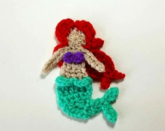 "1pc 3"" Crochet Red Head MERMAID Applique"