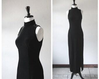 Gorgeous Black Velvet High Neck Sleeveless Semi Formal Long Dress / 1990s Vintage / Retro Style