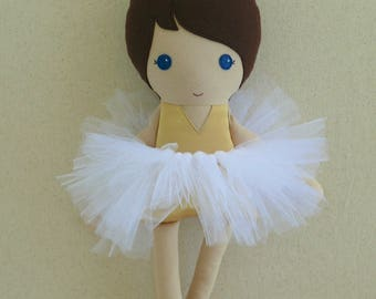 Fabric Doll Rag Doll Brown Haired Girl in Gold Leotard and Shoes and White Tutu