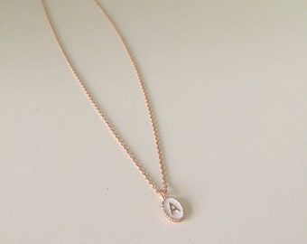 Tiny White Oval Initial Letter Necklace