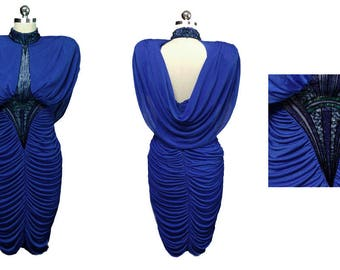 Vintage Casadei 80s Beaded & Sequin Ruched Evening Dress w Fabulous Draped Back 80s evening gown blue evening gown  ruched cocktail dress