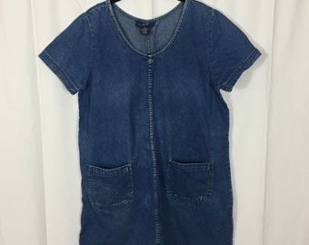 Vintage Pullover Short Sleeve Denim Dress / Plus Size 12