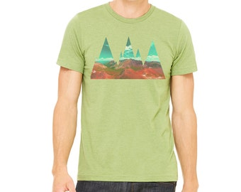Mountains shirt | t-shirt | Men's Graphic tee | Abstract Ts hirt | mountain t-shirt | mountain range | hiking shirt | Men's shirt | Green |