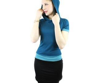 hooded dress petrol black turquoise unique