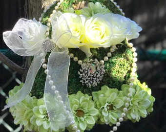 woodland  GREEN flower girl basket or handbag with brooch,string of pearls, flowers  and moss ready to ship