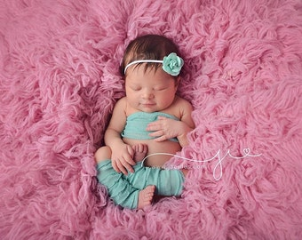 Mint leg warmer set, ruffle leg warmer set, newborn photo prop, newborn leg warmer set, mint headband, felt flower, photography prop, baby