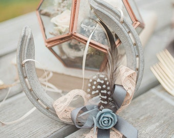 Amelie Blush and Grey Rose Lucky Wedding Horseshoe