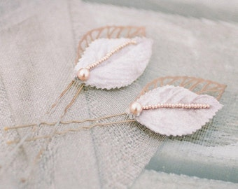 Patti Leaf Beaded Hair Pins in Grey/Rose Gold/Copper