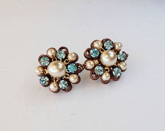 Aqua Blue Rhinestone Stud Earrings. Rhinestone Jewelry of Pearls & Crystals. Colorful Rhinestone Studs. Gifts for Spring Summer Blue Jewelry