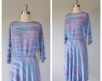 vintage 1970s soft rayon ikat dress made in Indonesia size medium