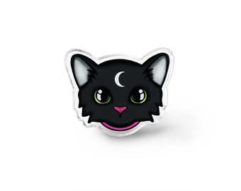 Familiar Cat Pin - Cat Lapel Pin, Pastel Goth, Fairy Kei, Witchy, Gothic Lolita, Kawaii Cat, Soft Grunge