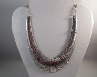 Silver Tone Bib Pendant Necklace on a Silver Tone Chain