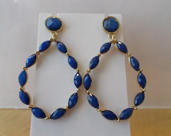 Blue Teardrop Post/Stud Hoop Earrings