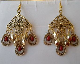 SALE Gold Tone Chandelier Earrings with Gold Tone Beads and Gold Tone and Red Teardrop Dangles