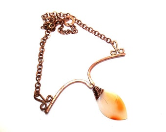 Large Stone Agate Copper Wire Work Bib Necklace