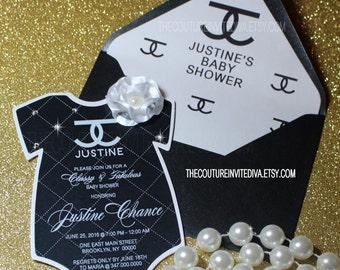 Fashionista Baby Shower Invitation, Black & White Baby Onesie Invitation