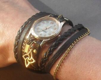 BRACELET WRAP WATCH, vegan leather wrap watch, flower watch, gold bracelet watches, grey gray leather watch, wrist watch, gift for women