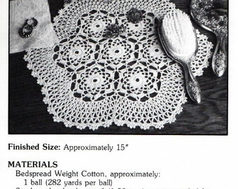 "Vintage Crochet Pattern ""Tempest"" - from Leisure Arts 'Elegant Crocheted Doilies' Leaflet No 972"