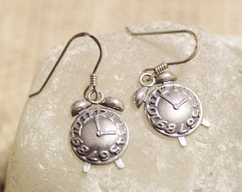 Sterling Silver Alarm Clock Earrings, Unique Jewelry, Time Jewelry, Gifts Under 25