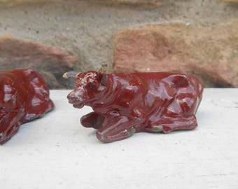 Vintage Miniature Red Brown Cow or Bull Cast Metal Rustic Lead Figurine Made in England J. Hill and Co Terrarium Farm Animal