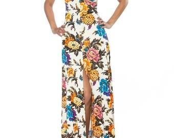 1970s Keyhole Halter Long Floral Dress Size: 2-4