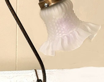 Vintage Brass Table Lamp, electric goose neck lamp white tulip frosted glass ruffled shade, Victorian style lighting