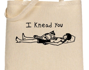 Funny Cat Tote, Book Bag for Cat Lovers, Funny Cat Pun, I Knead You