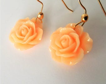 Peach and Gold, Peach Roses, Gold and Peach Earrings, Rose Earrings, Peach, Mothers Day, Easter Jewelry